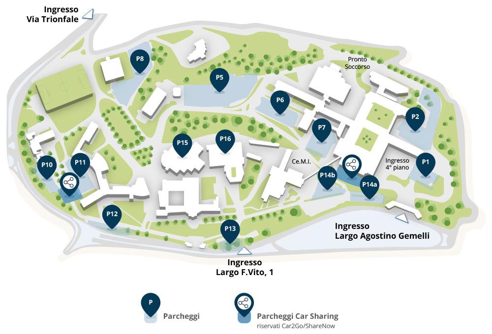 mappa parcheggi policlinico Gemelli